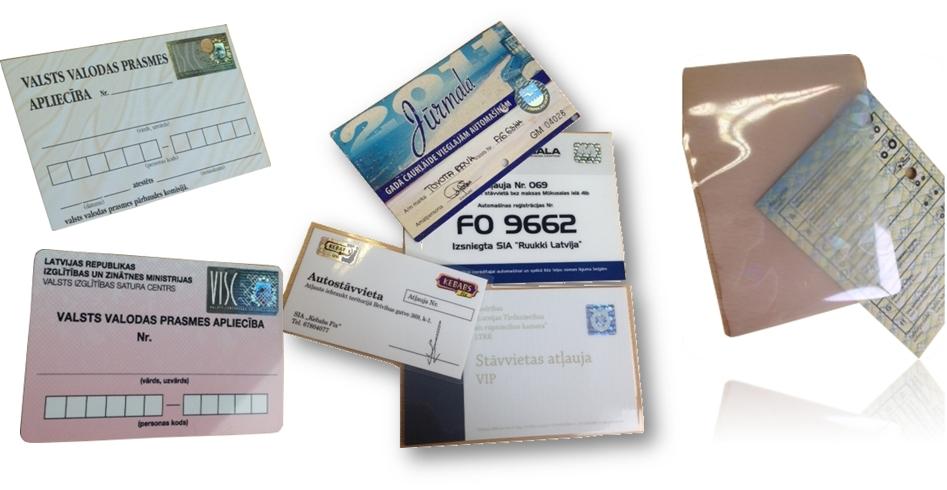 Papírové Karty, průkazky, povolenky